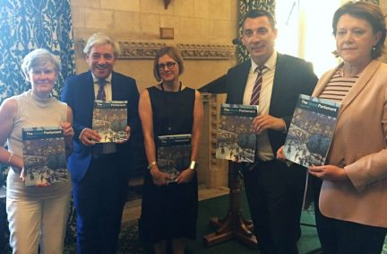 Prof Childs with Kate Green MP, Speaker of the HoC, the Rt Hon John Bercow MP, BGIPU ExCo member, Gavin Shuker MP and Chair of WEC, Rt Hon Maria Miller MP