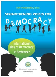 """The BGIPU will be marking the International Day of Democracy (15 September) and promoting the work of our membership with a series of thematic events across Parliament during the week commencing 9 September. The events will embrace the theme of this year's International Day of Democracy of """"Strengthening Voices for Democracy""""."""