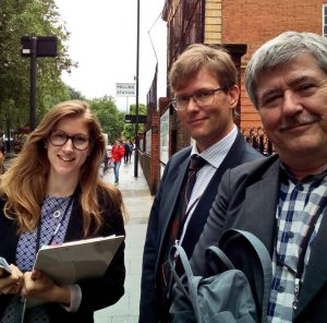 BGIPU's Emily Davies with Danish MP Soren Sondergaard (R) and Norwegian Parliamentary official Thomas Fraser (L) observing in Fulham