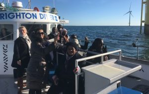 Off Brighton, the Angolan delegation visit Rampion Wind Farm, Europe's largest offshore windfarm.