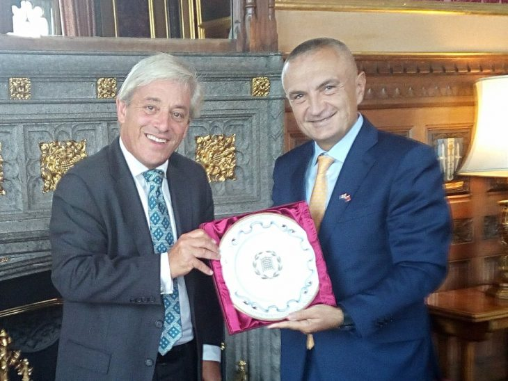 The Speaker of the House of Commons Rt Hon John Bercow MP with his Albanian counterpart Mr Ilir Meta MP