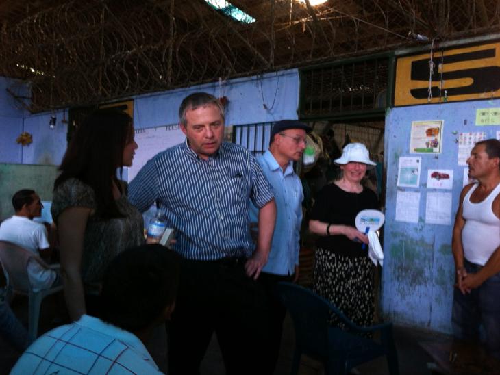 John Mann MP and Baroness Hooper listen to prisoners' views in Apanteos Prison in Santa Ana, El Salvador