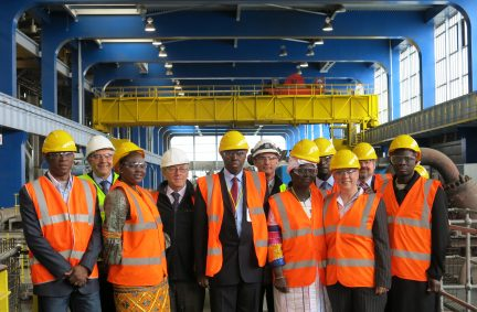 The Delegation with Jackie Doyle Price MP and staff of Tilbury Power Station during a tour of the facility