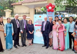 UK delegation attend the launch of an eye health clinic for students of Hong Ha Primary School initiated by UK company, Prudential PLC
