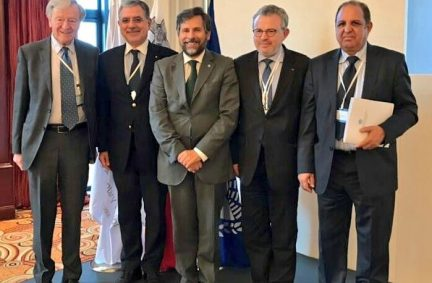 Lord Dubs with representatives of the IPU's joint host, the Parliamentary Assembly of the Meditteranean, and the OSCE Parliamentary Assembly