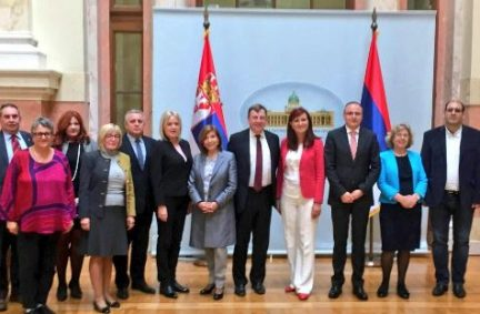 Delegation meet members of Serbia-UK Friendship group in the Serbian National Assembly