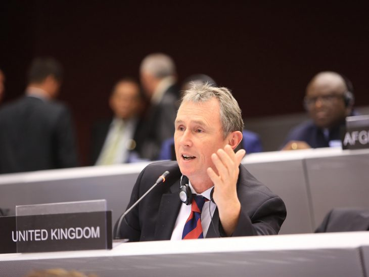 BGIPU Chair. Nigel Evans MP, speaks at the 133rd IPU Assembly in Geneva