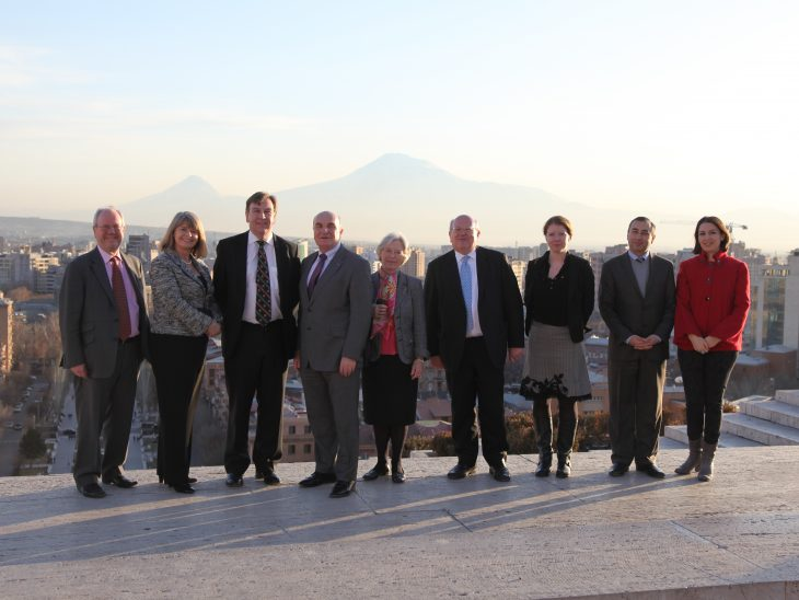 The delegation with Mount Ararat in the background
