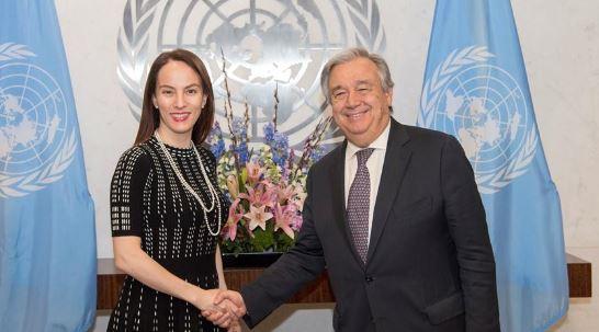 The IPU President, Senator Gabriela Cuevas Barron and the UN Secretary General, Antonio Guterres