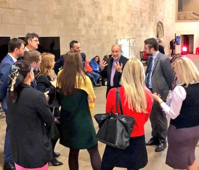 Members of the parliamentary delegation from Slovakia hear about the rich history of the Palace of Westminster from Fabian Hamilton MP