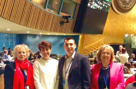 BGIPU delegation comprising Baroness Hodgson, Jo Churchill MP, Gavin Shuker MP and Baroness Northover on the floor of the UN General Assembly