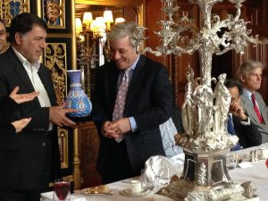 Dr Mansouri, the leader of the Iranian delegation presents a gift to the Speaker of the House of Commons, Rt Hon John Bercow MP
