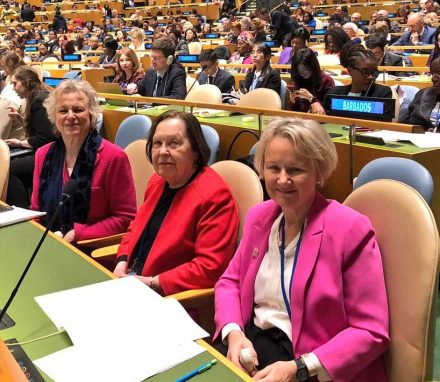 Baroness Hodgson, Baroness Gale and Baroness Wtkins representing the UK Parliament at the 63rd session of the Commission of the Status of Women at the UN in New York.JPG