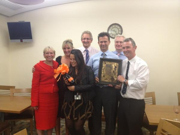 The winning team Quizteam Aguilera, with Quizmaster Nigel Evans MP and their spoils!