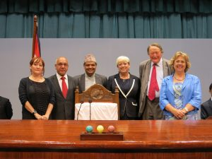 UK Delegation with the Secretary General of the Constituent Assembly at the Speaker's Chair - a gift from the UK Parliament