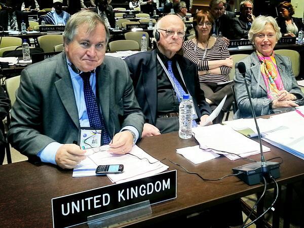 UK representatives to the IPU Governing Council, BGIPU Chairman, Robert Walter MP, Lord Judd and Baroness Hooper at IPU128Quito