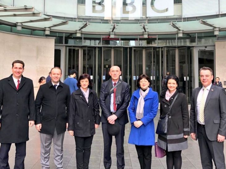 The delegation from North Macedonia visited BBC headquarters and met staff of the BBC World Service