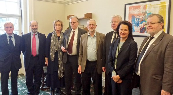The Speaker of the Althingi and delegation meets the Leader of the Opposition, Jeremy Corbyn MP, and Opposition Shadow Ministers
