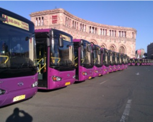 """249 of the bright purple buses on the streets of Yerevan were gifts from the Chinese in 2012. Clearly marked """"China Aid"""", they are visible symbol of the strategic importance of Armenia at the crossroads between East and West, North and South."""