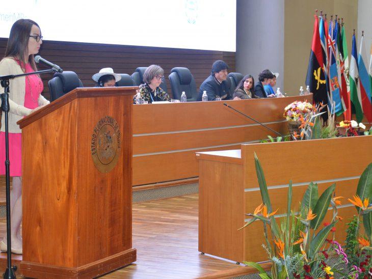 The IPU President, Senator Gabriela Cuevas-Barron, speaks to delegates at the opening by Bolivia's President Evo Morales