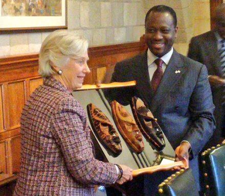 Speaker Guillaume Soro with Baroness Hooper