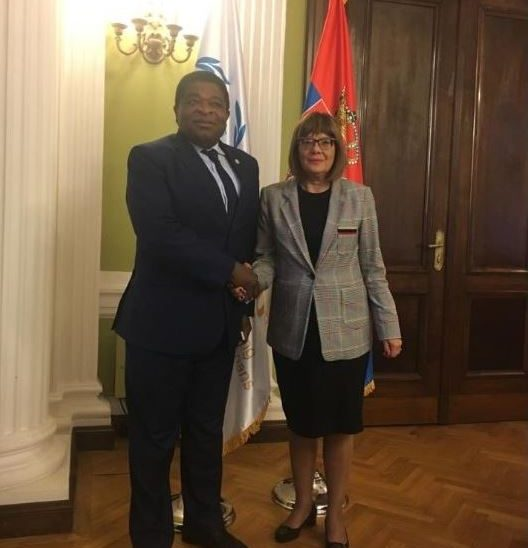 IPU Secretary General Martin Chungong meets Speaker of the Parliament of Serbia, Maja Gojkovic, prior to the 141st IPU Assembly