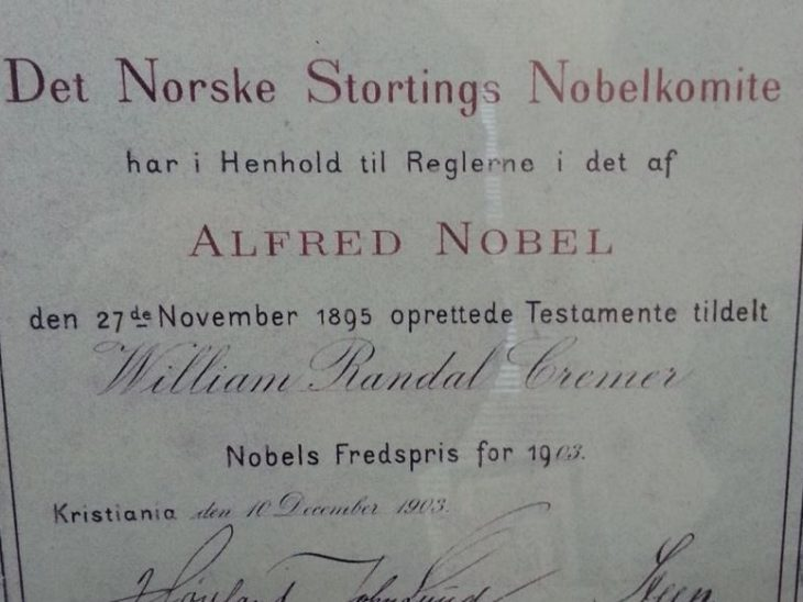 The 1903 Nobel Peace Prize awarded to Sir William Randal Cremer