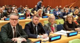The UK delegation to the UN Parliamentary Hearing in New York, February 2020
