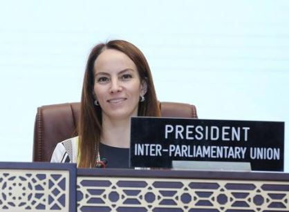 The IPU President, Gabriela Cuevas presides over the 140th IPU Assembly held in Doha, Qatar in April 2019