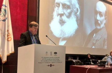 Past Chair Rt Hon John Whittingdale MP speaks about the founding of the IPU at the 141st Assembly in Serbia in October 2019