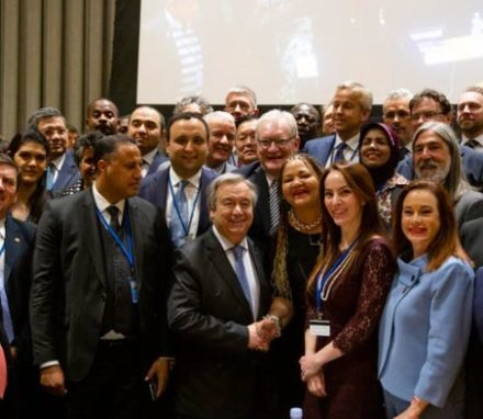 The UN Secretary General Antonio Guterres with the IPU President, Gabriela Cuevas, Executive Committee and other members at the UN Headquarters in New York in February 2020 © Joel S Photo/ IPU