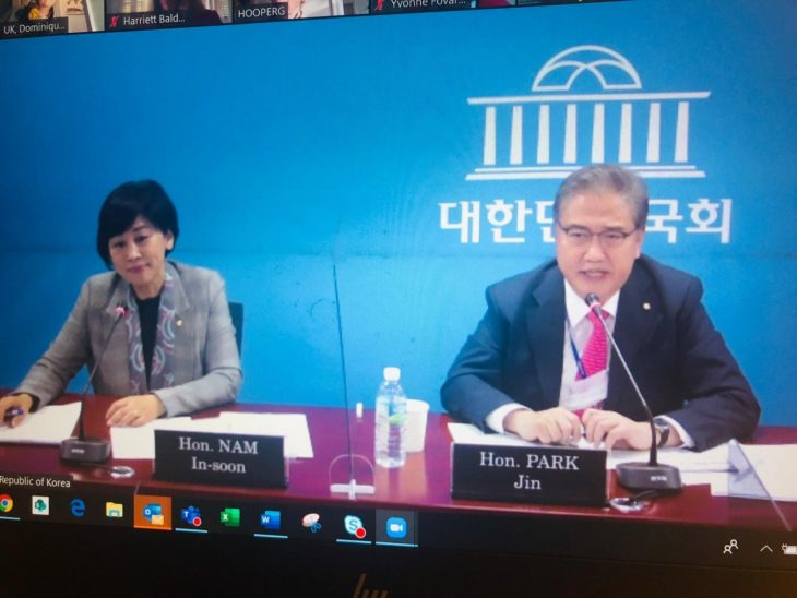 BGIPU hosted a virtual bilateral meeting between members of the UK Parliament and the Korean National Assembly co-chaired by BGIPU Chair, Harriett Baldwin MP and BGIPU Vice-Chair, Baroness Hooper CMG