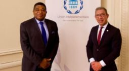 SG Martin Chungong welcomes IPU President Duarte Pacheco to IPU Headquiarters in geneva in December 2020 amind huge challnges for the IPU, national parliaments and global community created by the COVID-19 global pandemic.