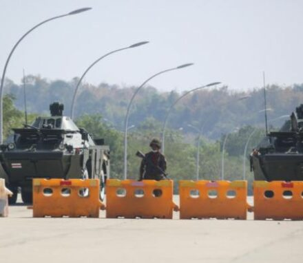 Military block the road near parliament on February 1 2021 ANADOLU AGENCY VIA AFP