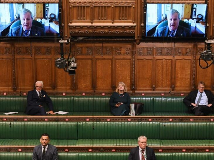 BGIPU Chair Harriett Baldwin MP sits in a socially distanced hybrid House of Commons during a debate in May 2020