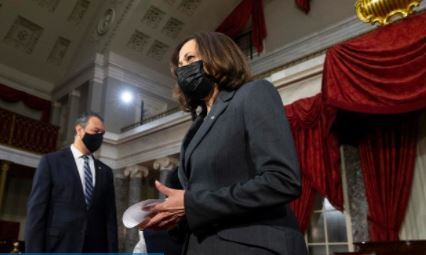 On 20 January 2021, Kamala Harris was sworn in as the United States' first female Vice President, the highest-ranking female official in US history, and the first African American and first Asian American to attain that position. © Michael Reynolds/ AFP